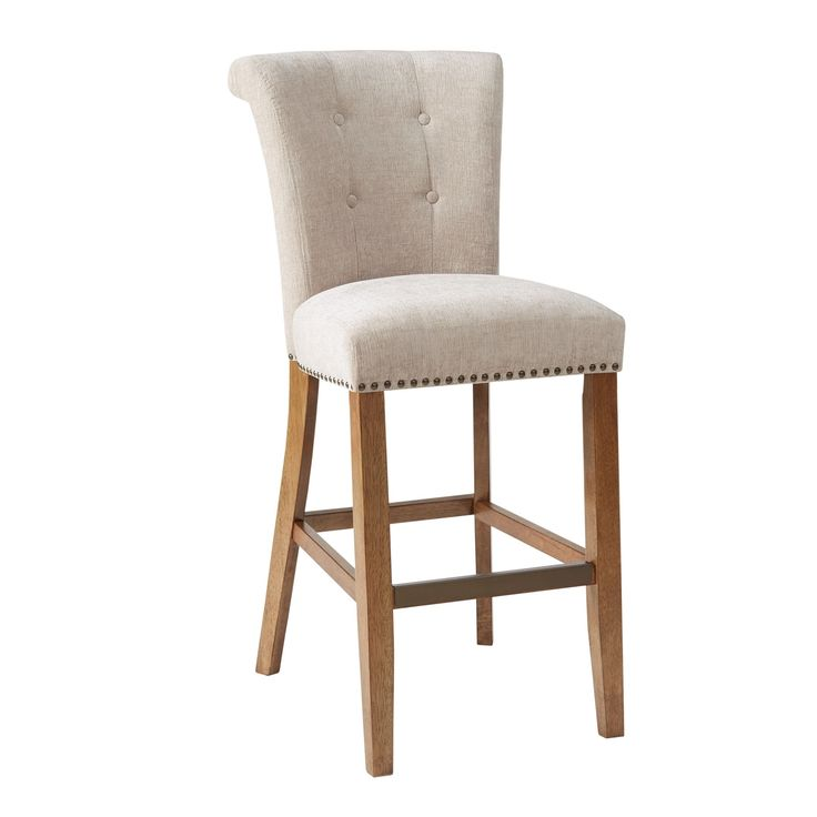 Madison Park Weldon Cream (Ivory) 30-Inch Bar Stool (21Wx26.75Dx43.75H-Cream) (Foam)