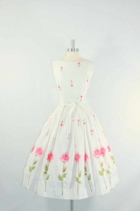 1950's Vintage Dress ~White Cotton with Long Stem Pink Roses Border Print Garden Party Frock~ Designer ~Mode O Day~