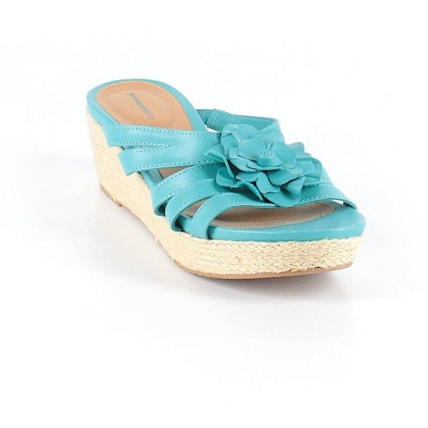 Sole Senseability Wedges ($27) ❤ liked on Polyvore featuring shoes, teal, teal blue shoes, wedge sole shoes, wedge heel shoes, teal wedge shoes and teal shoes