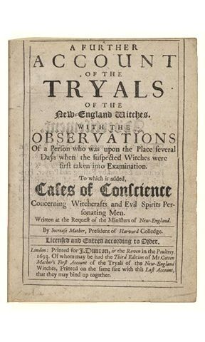 Historic Newspapers~  Newsbook dated 1693 -- An account of the Salem Witch Trials written by Increase Mather. On exhibit in the News Corporation News History Gallery at the Newseum.  Newseum collection  Photo credit: Newseum collection
