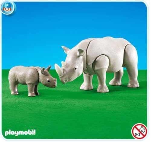 Playmobil Rhino with Calf by Playmobil. $11.99. Same durable, quality Playmobil construction as their regular retail styles. This item is part of the Direct Service range. This range of products are intended as accessories for or additions to existing Playmobil sets. For this reason these items come in clear plastic bags or brown cardboard boxes instead of a colorful retail box.. Some assembly may be required.. Playmobil Add-On, ships in plastic bag, not retail...