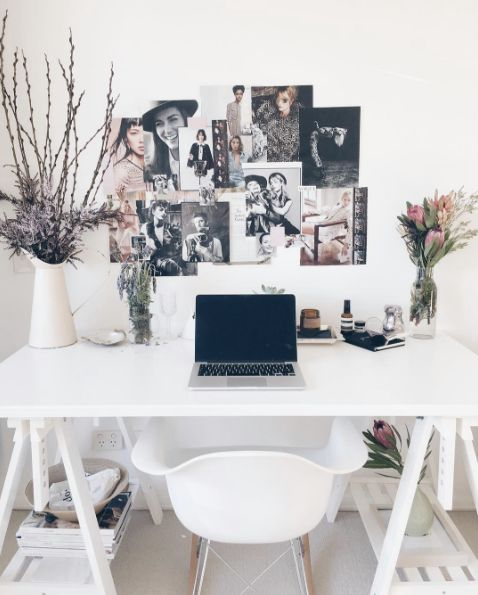 home office decorating ideas white desk tall floral branches collage photos - Homes Interior Designs