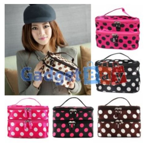 Ladys Dot Double Layer Case Makeup Cosmetic Handbag Tools Storage Toiletry