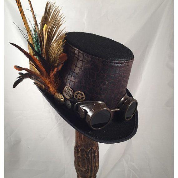STEAMPUNK TOP HATS, Steampunk Store,Steampunk Wedding, Black, Felt, Goggles, Clock Parts