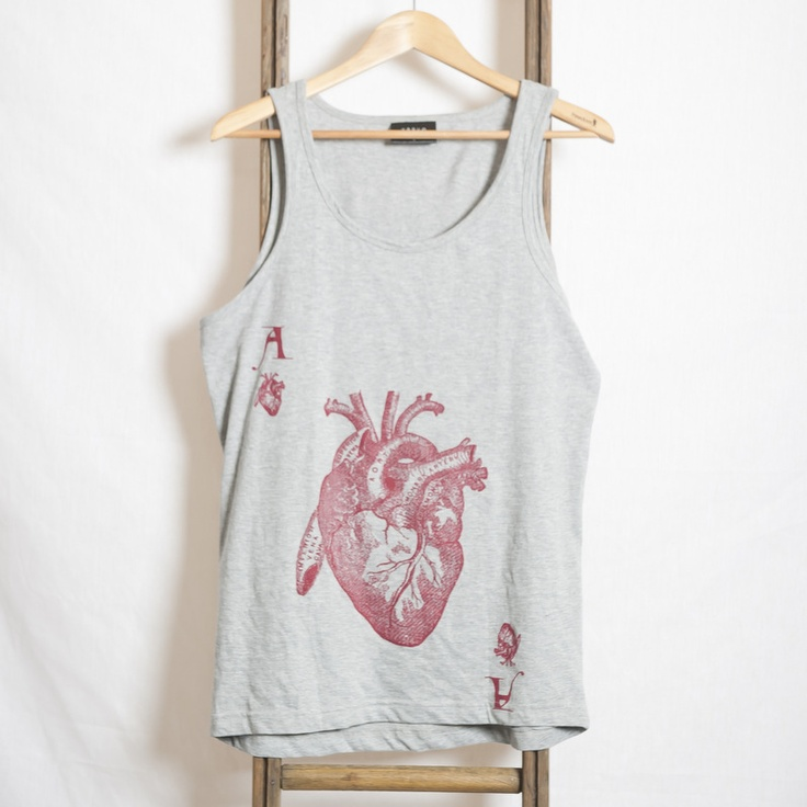 Hearts Singlet Grey Marle - Vague Clothing