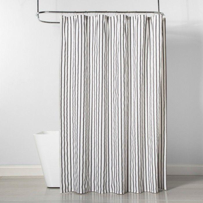 Stripe Shower Curtain Black White, Grey Striped Shower Curtain