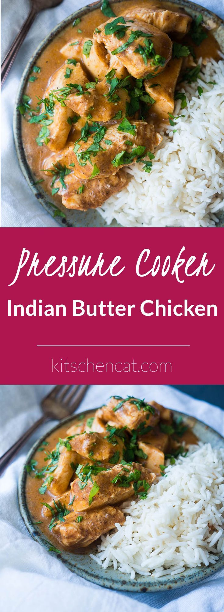 Pressure Cooker Indian Butter Chicken. A rich and creamy indian curry made in less than 15 minutes in the pressure cooker. Sprinkle with chopped cilantro and serve on top of basmati rice for a night of make at home take-out!