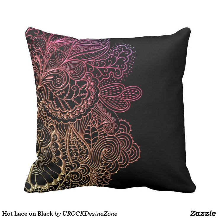 Hot Lace on Black Throw Pillow Black throws, Throw pillows and Pillows