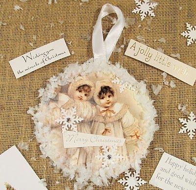 Vintage Style Recycled CD & Christmas Card Ornaments - Save those Christmas cards at the end of the season and use them to create a recycled craft. #tutorial