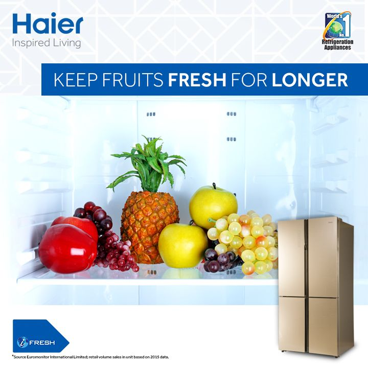 Relish all juicy and delicious fruits without any anxiety. Haier's separate fruit box with Glass Door Side By Side 4 Door #Refrigerator from #Haier keeps all your fruits, juicy, tasty and fresh.