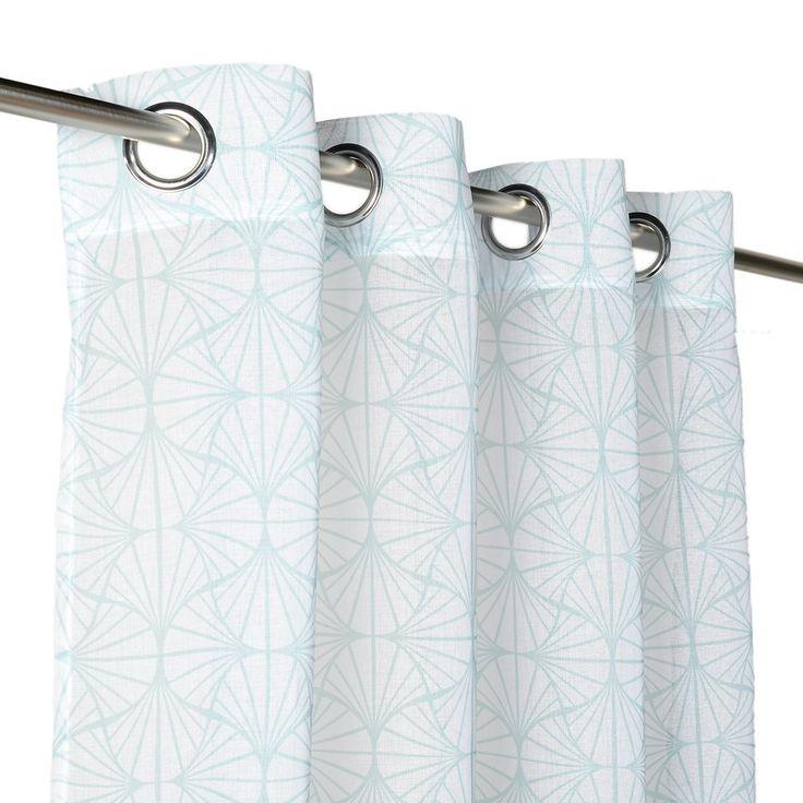 Rideau voilage motifs géométriques bleus   - Mondial Tissus