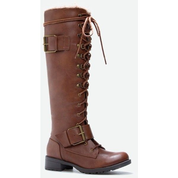 Justfab Flat Boots Mariya ($50) ❤ liked on Polyvore featuring shoes, boots, brown, brown flat shoes, justfab shoes, faux fur boots, platform shoes and platform buckle boots
