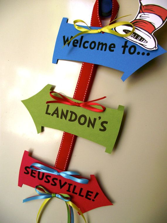 Dr. Suess baby shower ideas | Dr Seuss Cat in the Hat Inspired Baby Shower or Birthday Door Sign