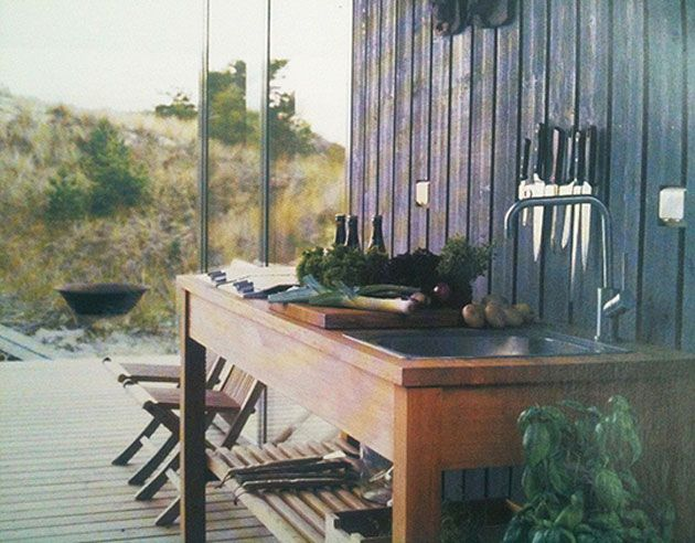 Simple Kitchen On The Patio For Grilling And Washing Veggies From The  Garden.
