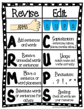 Use this chart to teach your students the difference between revising and editing. The graphics and mnemonics will help your students remember all the important steps to revise and edit effectively. This download includes one color copy of the chart to print and hang in your classroom, as well as a black line master that could be photocopied for student writing folders.