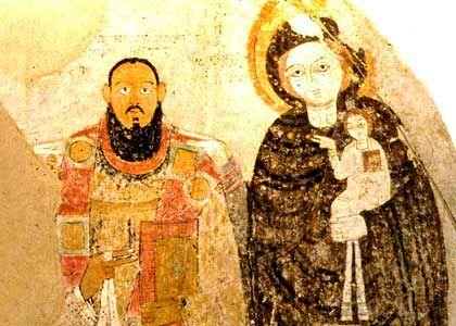 Fresco uit de grote kathedraal van Faras, Nubie, Soedan. Nubische bisschop met Maria en Christus, 9e-10e eeuw.