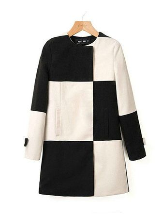 Женщин хит Цвет черный белый плед шить ветровка шерсть пальто