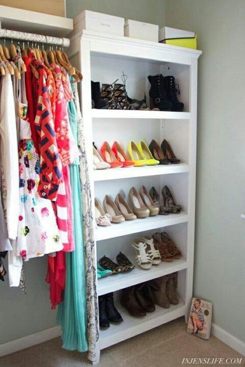 bookcase to store shoes maybe short bookcases for smaller closets can put them side by side u0026 have more storage room