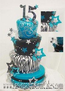 Pastel estrellas y Zebra #Cakes #Pasteles y #Cupcakes para #Bodas y #15Años #Fondant #wedding #quinceanera | DaVinci http://bit.ly/1v3zvMi