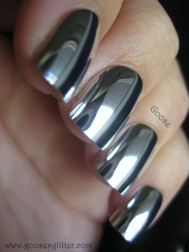 Más de 30 diseños de uñas color plateado – IMPERDIBLE !   Decoración de Uñas - Nail Art - Uñas decoradas