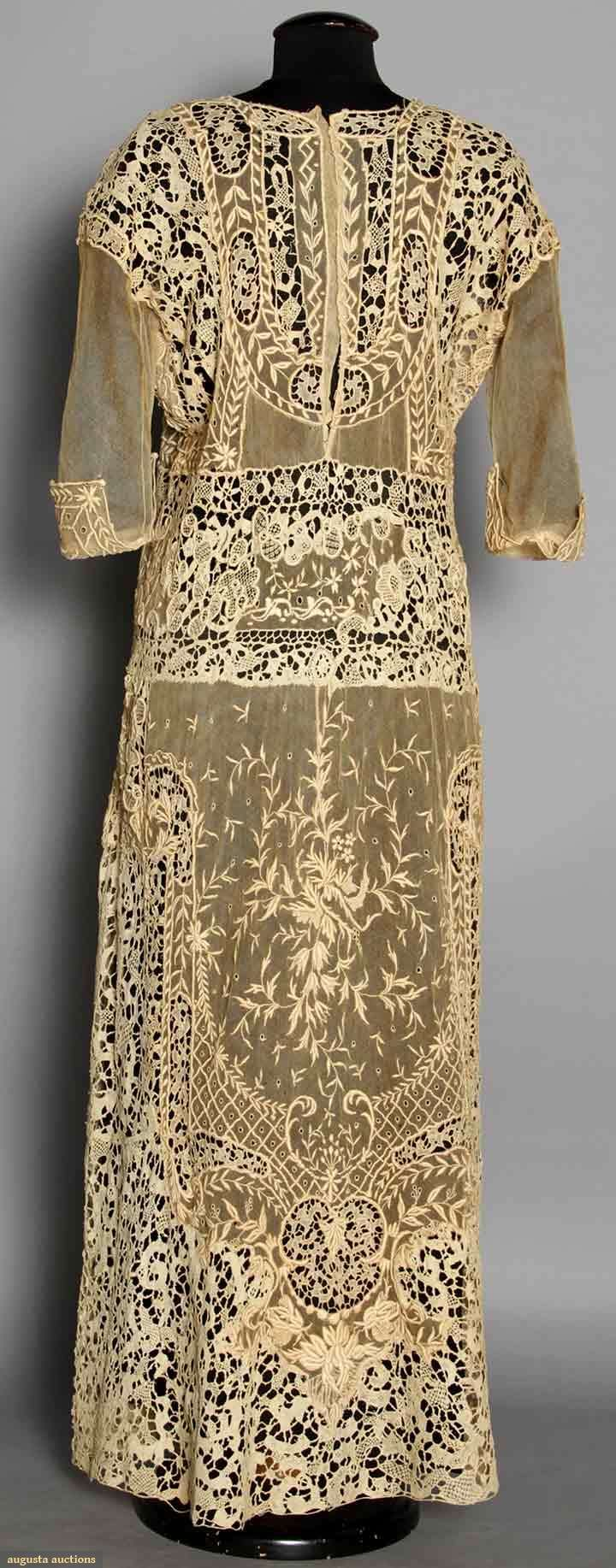 back detail - Lace Tea Gown, C. 1919, Patchwork of embroidery on net & needle lace.
