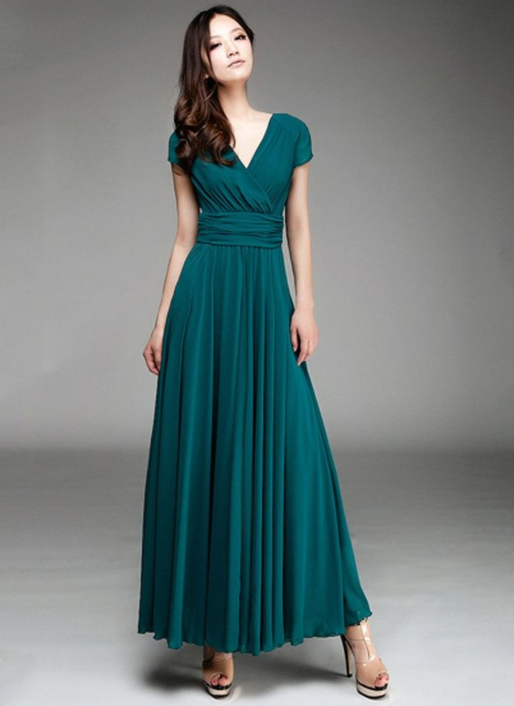Teal long dress