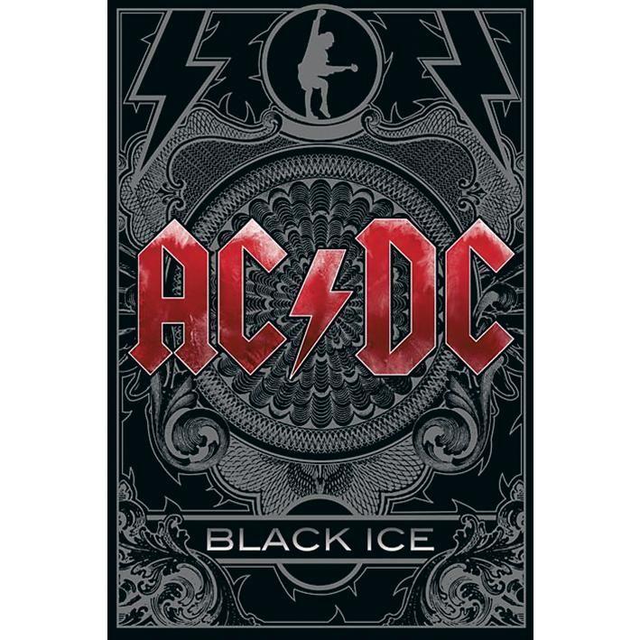 """Eres fans de una de las bandas de Hard Rock que surgió en las antípodas? Y a que esperes para poner el póster del álbum de AC/DC """"Black Ice""""! En gris y negro, donde solo el nombre del grupo resalta en rojo intenso."""