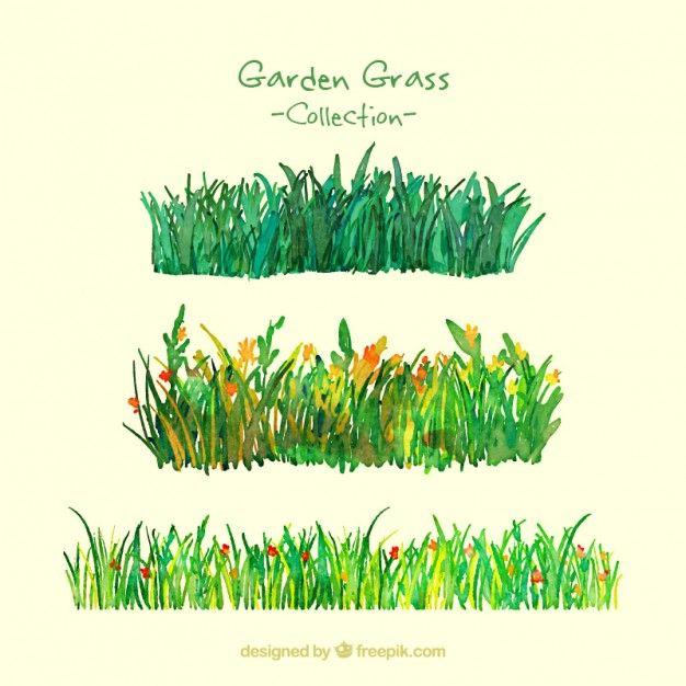 Aquarela pacote de grama do jardim Vetor grátis