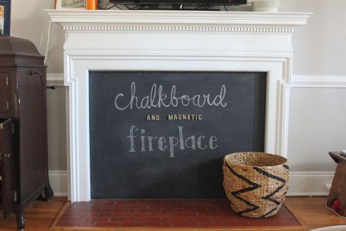 DIY: Chalkboard/Magnetic Fireplace Cover        - like the method of attaching the cover
