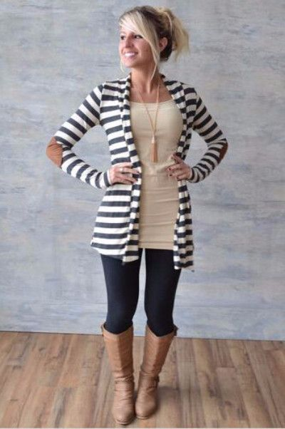 "Beautiful basic striped cardigan with super cute elbow patches that added a touch of fall! Super comfy and soft and looks great. Length from shoulder to hem: S-31.5"", M-32"", L and XL-32.5"" Bust: S-34"", M-36"", L-38"" 100% Cotton Hand wash cold, hang to dry."