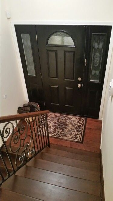 Split Foyer Entry Remodel : Split level foyer with black door my diy kim dempsey
