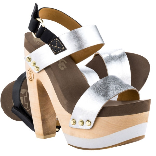 Flogg silver metallic Roxfort wood heel leather sandals via Polyvore