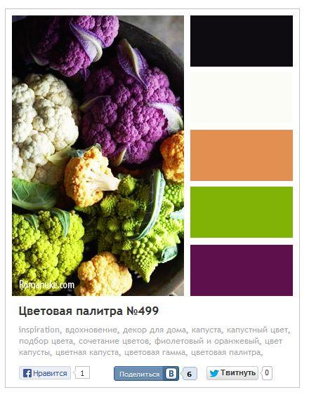 Фиолетово-оранжево-зеленая палитра