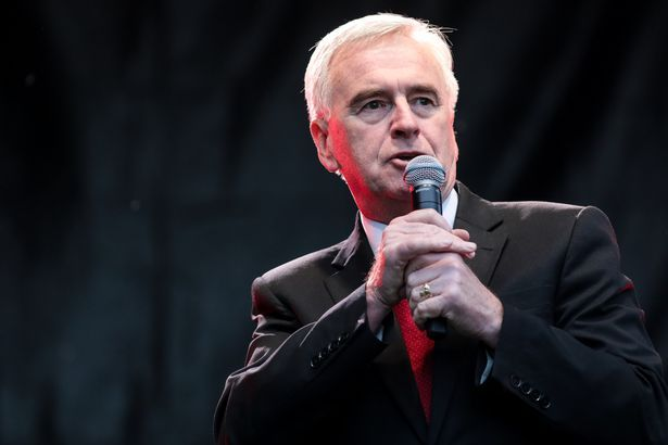 Shadow Chancellor John McDonnell has been speaking at Glastonbury 2017 today (June 25). Here he addresses supporters during a Labour Party rally in Croydon