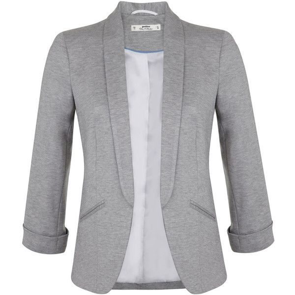 Miss Selfridge Petites Grey Ponte Blazer (£27) ❤ liked on Polyvore featuring outerwear, jackets, blazers, coats, petite, silver grey, gray jacket, miss selfridge, ponte knit jacket and blazer jacket