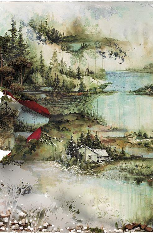 Bon Iver album. Watercolor illustration by Gregory Euclides.