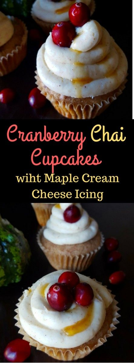 Cranberry Chai Cupcakes with Spiced Maple Cream Cheese Frosting! These Cranberry Chai Cupcakes are a real Holiday Treat! Imagine a moist and fluffy Chai Muffin studded with Cranberries and topped with a Chai-spiced Maple Cream Cheese Frosting