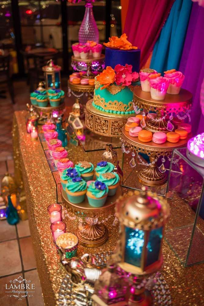 Moroccan night | CatchMyParty.com | Cake Stands created by Opulent Treasures >> http://www.opulenttreasures.com/shop/