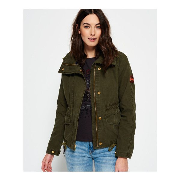 Superdry Rookie Field Crop Parka Jacket ($110) ❤ liked on Polyvore featuring outerwear, jackets, green, military parka jacket, green parka jacket, green jacket, green leather jacket and embroidered jacket