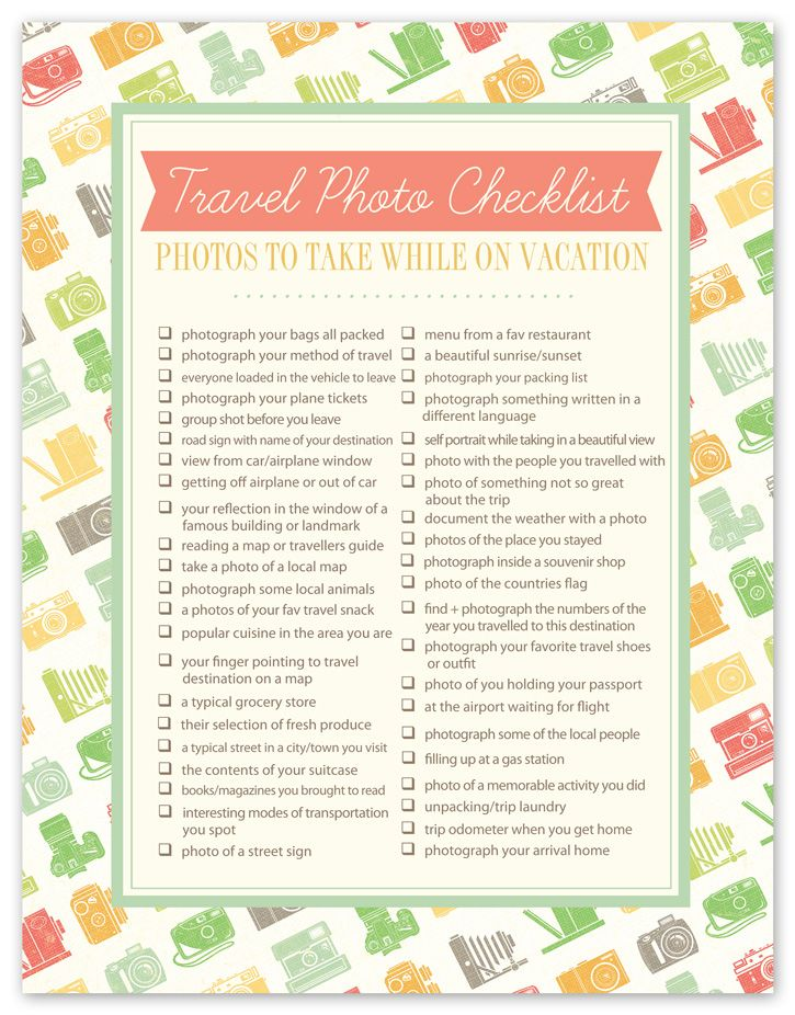 Travel Photo Checklist | cute!
