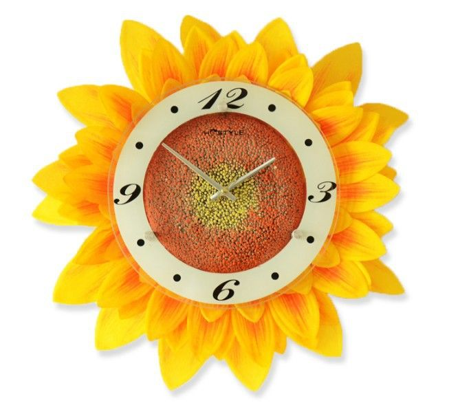 Marvelous Sunflower Quiet Artistic Wall Clock Simulation Flower Creative Wall Clock  Rural Style Vogue To Live In