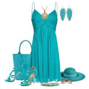 С чем носить бирюзовые босоножки: бирюзовое платье, сумка, шляпка