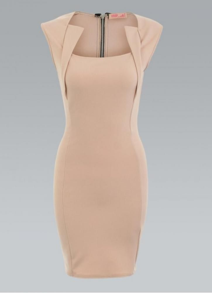 Beautiful dress! Great lines & structure. Brown Cocktail Dress - Stone Bodycon Dress