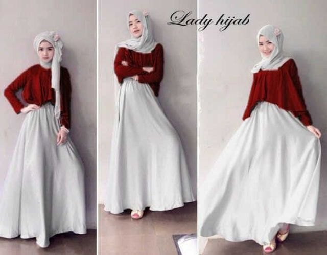 SET Maroon Hijab Lady  3in1 (Maxi Dress + Crop Top + Pashmina)