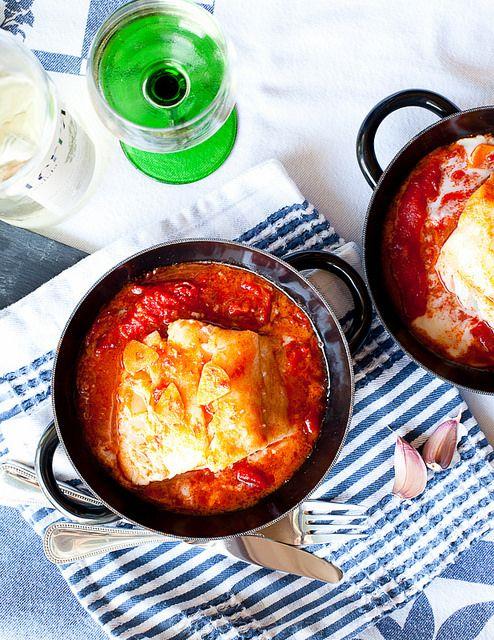 Суп из букв по-каталонски - Bacalao con pimientos - Треска с красным перцем