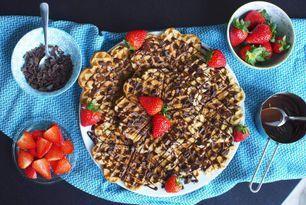 Buckwheat flour waffles with raw chocolate sauce