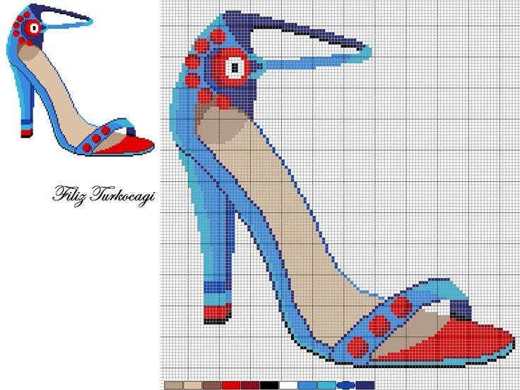 Mejores 66 imágenes de zapatos en Pinterest | Zapatos, Punto de cruz ...