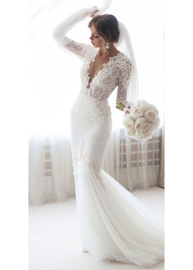 Long Sleeves V-neck Lace Wedding Dress