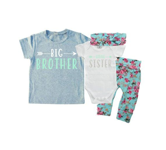 Baby Shower Gift Matching Sibling Set Big SisterLittle Brother Matching Sibling Set Take Home Outfit