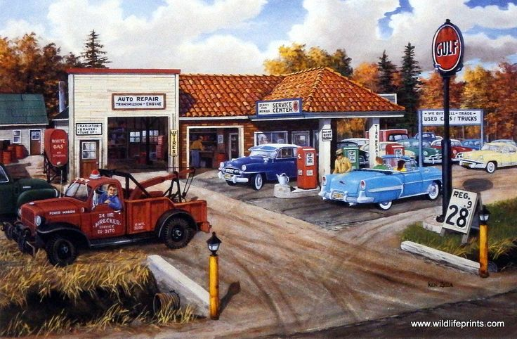 A reminder of how things used to be at this old Gulf Oil gas station. Attendants pumping gas into classic cars, and gas was 28 cents/gallon.